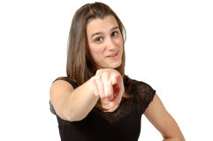 Your turn. Woman points at you and says it's you turn. It's your time Royalty Free Stock Photo