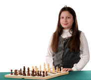 Your turn. Girl inviting to play chess Royalty Free Stock Images