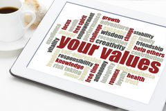 Your values word cloud Royalty Free Stock Photography
