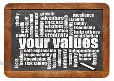 Your values word cloud. Your life values word cloud on a vintage slate blackboard stock photo