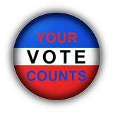 Your Vote Counts. Red white and blue vote button Your Vote Counts Stock Image