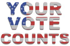 Your Vote Counts. Illustrated text saying your vote counts with american flag texture Royalty Free Stock Photos