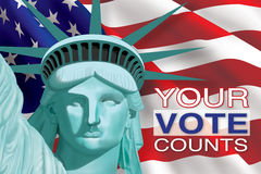 Your Vote Counts. Digital illustration of Statue of Liberty in front of flag with 2012 Vote text stock illustration