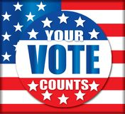 Your Vote Counts American Flag USA Button. Your Vote Counts with American Flag Background Stars and Stripes General and Primary Elections Royalty Free Stock Photo