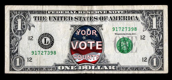 Your Vote Counts Dollar bill Stock Photos