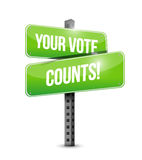 Your vote counts road sign illustration. Design over a white background design over a white background Royalty Free Stock Images