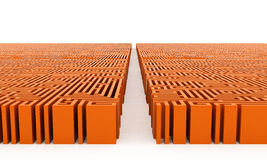 Your way. Orange maze with straight way Stock Image