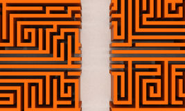 Your way. Orange maze with straight way Stock Photography