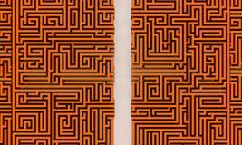 Your way. Orange maze with straight way Stock Photo