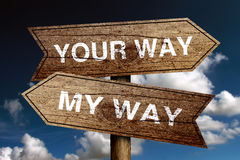 Your Way And My Way Stock Photography