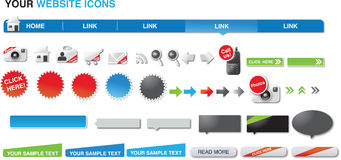 Your website icons. A set of icons and elements for web designers Royalty Free Stock Photos