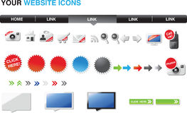 Your website icons - glossy edition. A set of icons and elements for web designers Stock Image