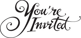 Youre Invited. Vector version of my own calligraphy Royalty Free Stock Photo