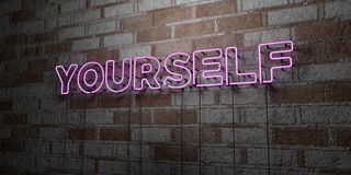 YOURSELF - Glowing Neon Sign on stonework wall - 3D rendered royalty free stock illustration Royalty Free Stock Photo