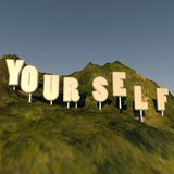 Yourself. Writing over hill, Hollywood style, 3d render, square image Royalty Free Stock Image
