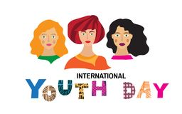 Yourth day2. International Youth day,12 August, Hand Drawn lettering Vector illustration in cartoon style Stock Illustration