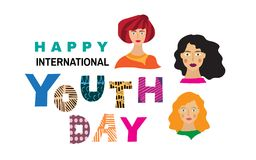 Yourth day4. International Youth day,12 August, Hand Drawn  lettering  Vector illustration in cartoon style Stock Illustration