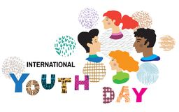 Yourth day. International Youth day,12 August, Hand Drawn lettering Vector illustration in cartoon style Royalty Free Illustration