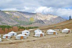 Yourtkamp in het natuurreservaat Terelj, Mongolië Royalty-vrije Stock Afbeelding
