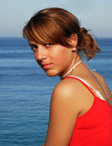 Youth. Young girl near the seaside in Majorca Stock Photos