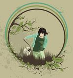 Youth. Young girl running with her dog on a floral background,vector illustration Stock Photos