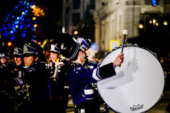 Youth band drummer at night Royalty Free Stock Image