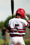 Youth baseball boy up to bat Stock Image