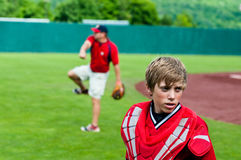 Youth baseball catcher up close Stock Image