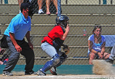 Youth Baseball home slide Stock Photos