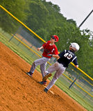 Youth Baseball Making Run to Base Stock Image