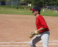Youth baseball player fielding with clipping mask Royalty Free Stock Photography