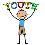 Youth Boy Indicates Kids Kid And Children. Youth Boy Showing Young Kids And Youngsters Royalty Free Stock Photos