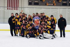 Youth Boys Hockey Tournament. Youth Hockey team celebrating their victory in a hockey tournament royalty free stock photo