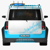 Youth car for outdoor activities. Completed in the style of the old school. The machine for surfers. vector illustration