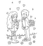 The youth celebrates love, first love, first kiss young hand drawing for coloring Royalty Free Stock Photos