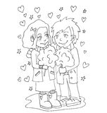 The youth celebrates love, first love, first kiss young hand drawing for coloring Stock Image