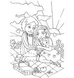 The youth celebrates love, first love, first kiss young hand drawing for coloring. On the white background Royalty Free Stock Images