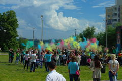 Youth celebrating the festival of colors. The festival of colors Holi 11. 06.2016 city at the stadium of the Chuvash state pedagogical University Cheboksary Stock Images