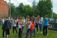Youth celebrating the festival of colors. The festival of colors Holi 11. 06.2016 city at the stadium of the Chuvash state pedagogical University Cheboksary Stock Photo