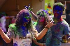 Youth celebrating Holi festival near Pune stock image