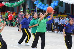 youth chairball match, in elementary schools. stock photo