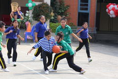 Youth chairball match, in elementary schools. Royalty Free Stock Images