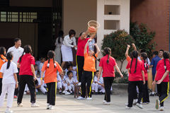 Youth chairball match, in elementary schools. Stock Photos