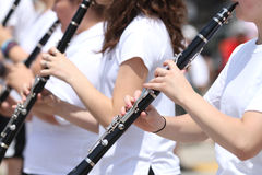 Youth Clarinet Players closeup in parade in small town America Stock Photography