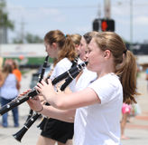 Youth Clarinet Players in parade in small town America Stock Images