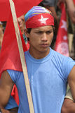 Youth Communist League (YCL)  Supporter from Nepal. May 01, 2010 Kathmandu, Nepal. A Youth Communist League (YCL) supporter of the Maoist political party holding Stock Image