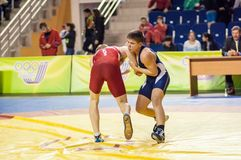 Youth competitions on sporting wrestling Stock Images
