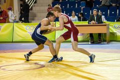 Youth competitions on sporting wrestling Stock Photos