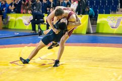 Youth competitions on sporting wrestling Stock Photo