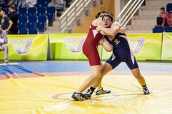 Youth competitions on sporting wrestling Royalty Free Stock Photos